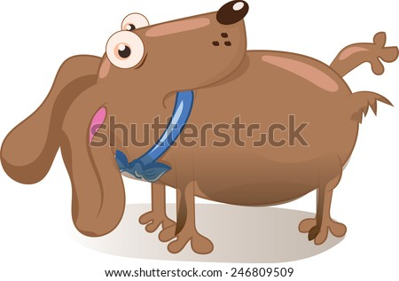 cute cartoon dog, this is a cute brown pet dog with a collar , he is looking cheekily towards you. - stock photo