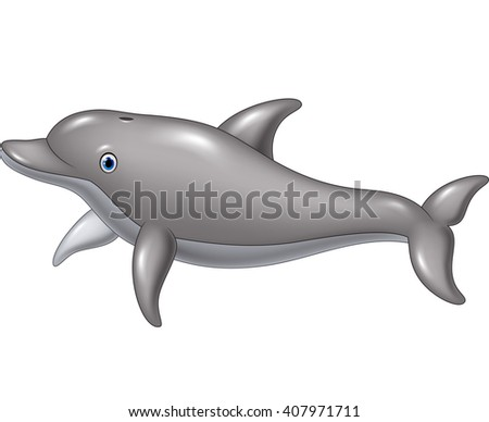 Cute cartoon dolphin isolated on white background - stock photo