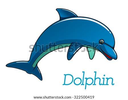 Cute cartoon dolphin jumping in sea water for kids illustration and wildlife design - stock photo