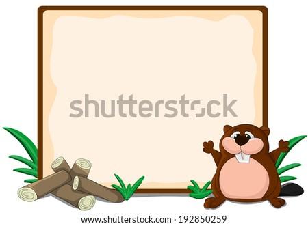 Cute cartoon framework with logs and beaver