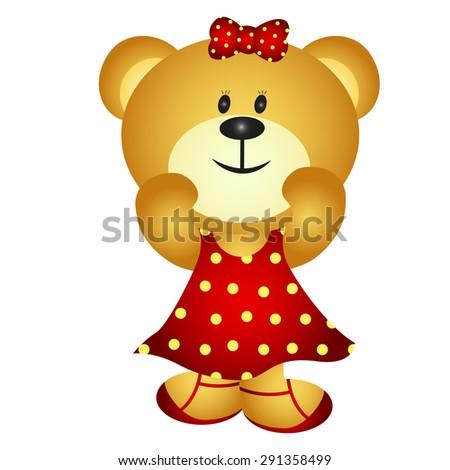 Cute Cartoon Girl Bear - stock photo