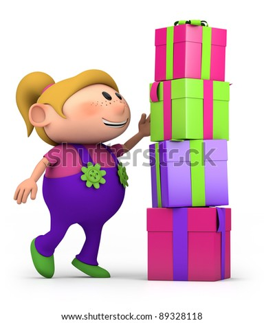 cute cartoon girl stacking presents - high quality 3d illustration - stock photo