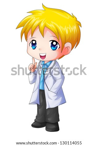 Cute cartoon illustration of a doctor - stock photo
