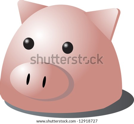 Cute cartoon illustration of a pig's head