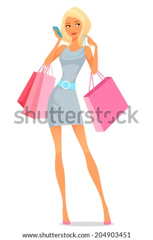 cute cartoon illustration of a young woman using her phone while shopping - stock photo