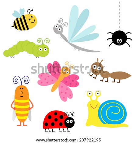 Cute cartoon insect set. Ladybug, dragonfly, butterfly, caterpillar, ant, spider, cockroach, snail. Isolated.  - stock photo