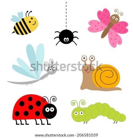 Cute cartoon insect set. Ladybug, dragonfly, butterfly, caterpillar, spider, snail. Isolated.  - stock photo