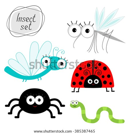 Cute cartoon insect set. Ladybug, dragonfly, mosquito, spider, worm. Isolated - stock photo