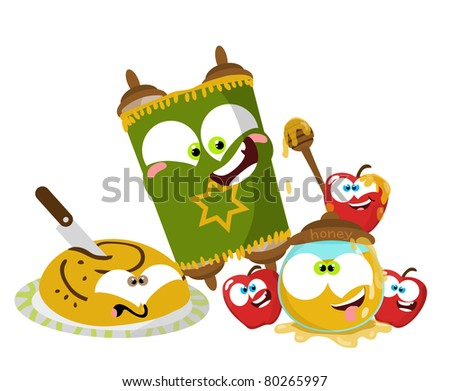 Cute cartoon Jewish New year objects