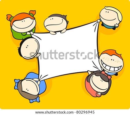 Cute cartoon kids holding a canvas (raster version) - stock photo