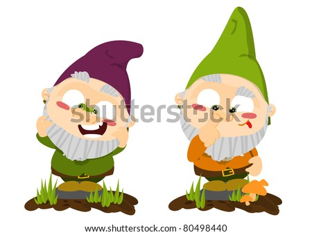 Cute cartoon lawn gnomes - stock photo
