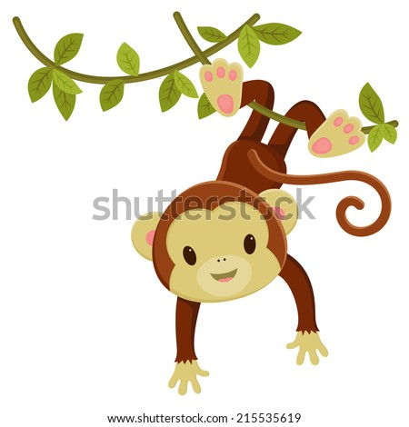 Cartoon Monkey Hanging Upside Down Cute Cartoon Monkey Hanging on