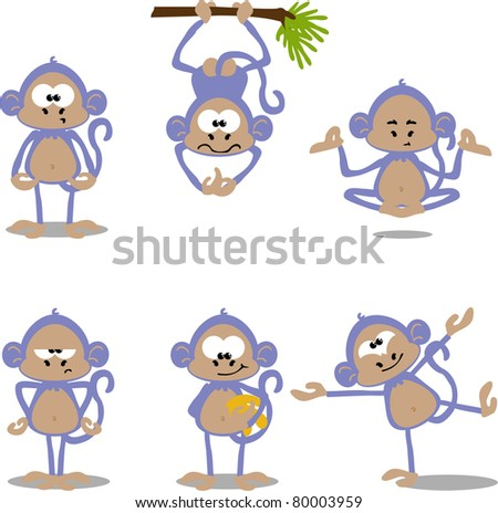 cute cartoon monkeys - stock photo