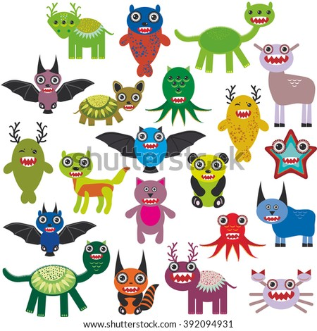 Cute cartoon Monsters Set. Big collection on white background.