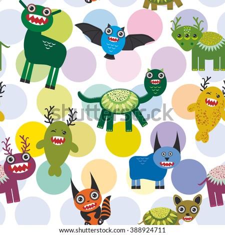 Cute cartoon Monsters Set.  seamless pattern on white background. illustration - stock photo