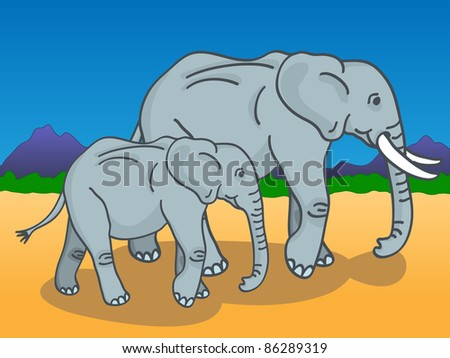 Cute cartoon of a mother and baby elephants walking under the sun in the African savannah with mountains and trees in the background. - stock photo