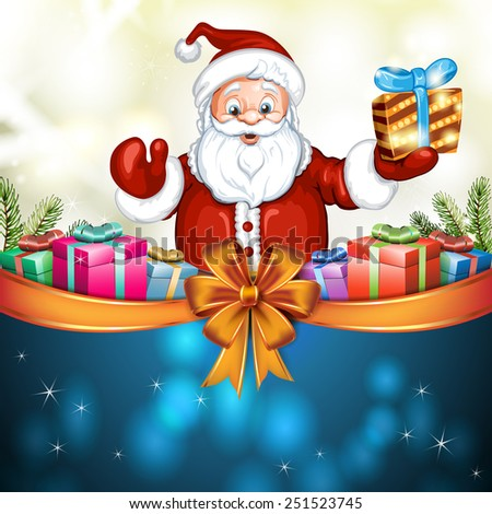 Cute cartoon of a Santa Claus holding a gift box - stock photo