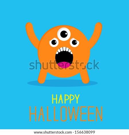Cute cartoon orange monster. Happy Halloween card. Rasterized copy - stock photo