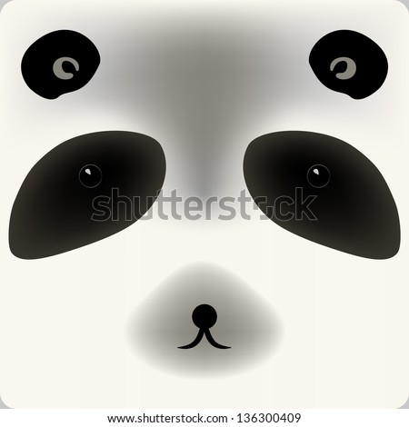 Cute cartoon panda bear face background for a card. Raster version, editable vector file also available at my portfolio. - stock photo