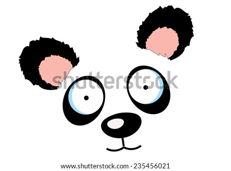 cute cartoon panda bear face,eyes,nose and ears .a cute panda sitting on the ground eating some bamboo leaves. - stock photo