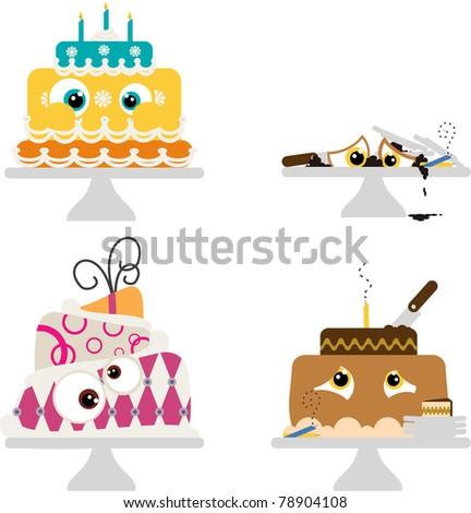 cute cartoon party cakes - stock photo