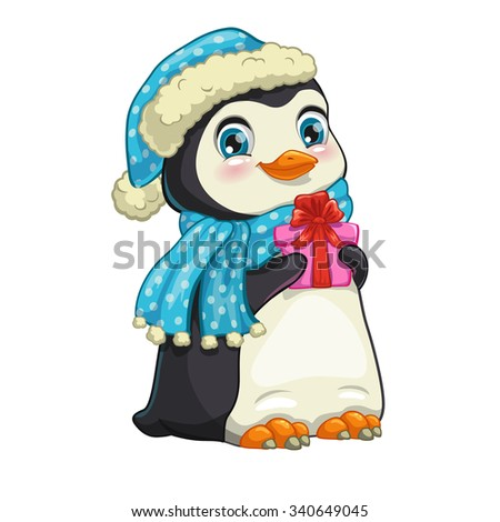 Cute cartoon penguin with gift box, hat and scarf. Isolated illustration on the white background. - stock photo