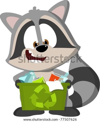cute cartoon raccoon recycling - stock photo