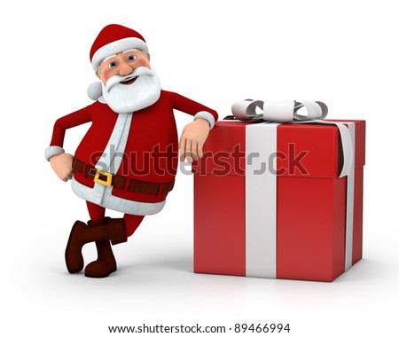 cute cartoon Santa Claus leaning against present - high quality 3d illustration - stock photo