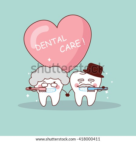 cute cartoon senior couple tooth with toothbrush, great for health dental care concept - stock photo