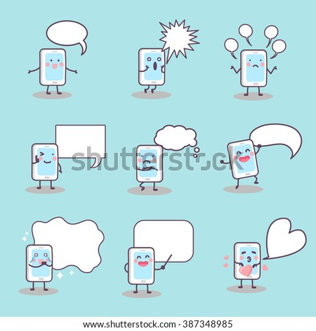 cute cartoon smart phone with speech bubble, great for technology concept design - stock photo