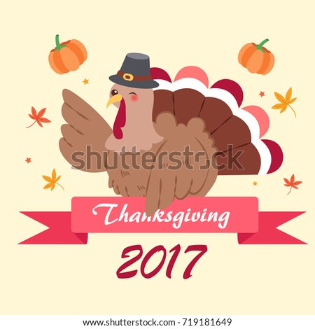 cute cartoon thanksgiving for your holiday concept