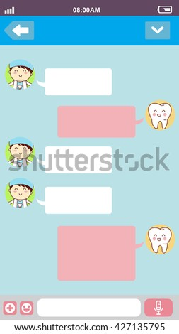 cute cartoon tooth with doctor in smart phone chat bubbles with blank text, great for your degisn - stock photo