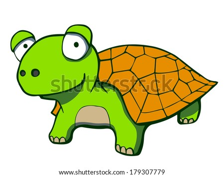 Cute cartoon turtle. Rasterized copy .Vector version of this image can also be found in portfolio. - stock photo