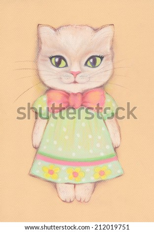 Cute cat girl dressed in a dress and with a bow. Greeting card or invitation for birthday party or any party. Funny background. - stock photo