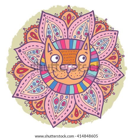Cute cat in a flower floral vignette. Lovely raster illustration. - stock photo