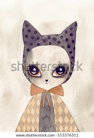 cute cat watercolor drawing