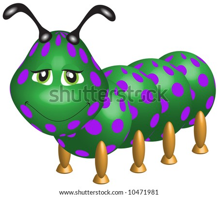 Cute Caterpillar 3-d, green with purple polka dots. - stock photo