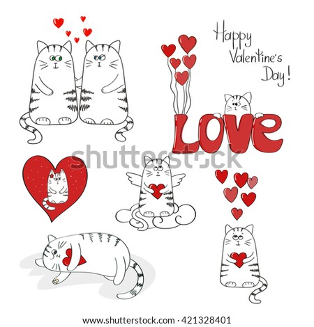 Cute cats in love. Valentines day set. Raster illustration.  - stock photo