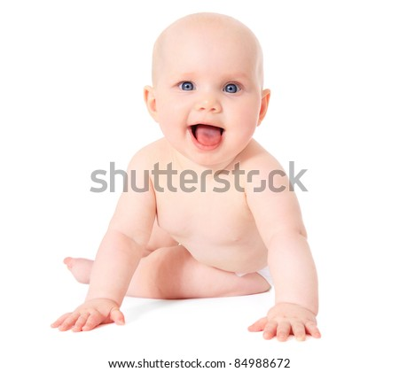 Cute caucasian baby. All on white background. - stock photo