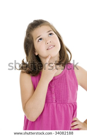 Cute Caucasian child thinking on a white background