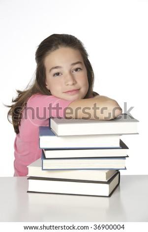 Cute Caucasian child working on homework - stock photo