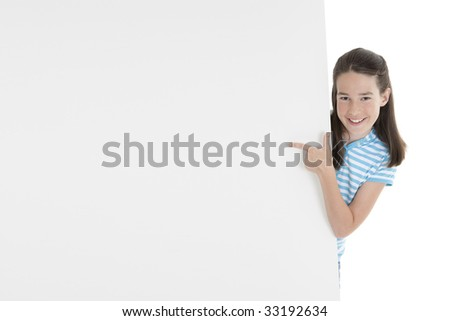 Cute Caucasian girl holding a blank sign - stock photo