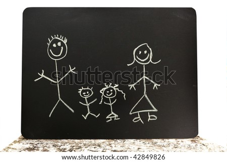 cute chalkboard family - stock photo