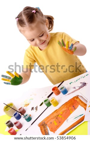 Cute cheerful child paint using hands, isolated over white - stock photo