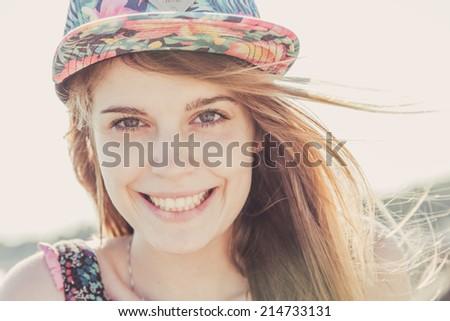 cute cheerful girl - stock photo