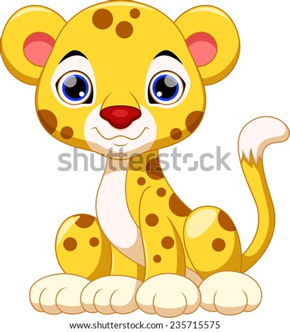 Cute cheetah cartoon - stock photo