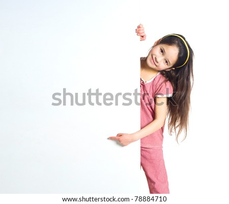 cute child behind a white board - stock photo