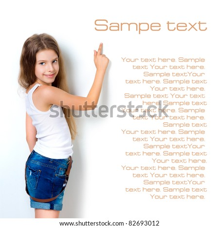 cute child behind a white board isolated - stock photo