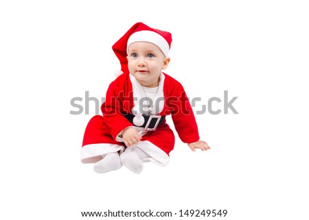 Cute child dressed as Santa Claus and sitting on the floor isolated on white background - stock photo