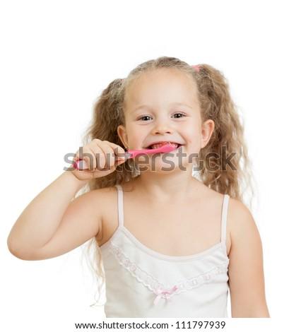 cute child girl brushing teeth isolated on white background - stock photo